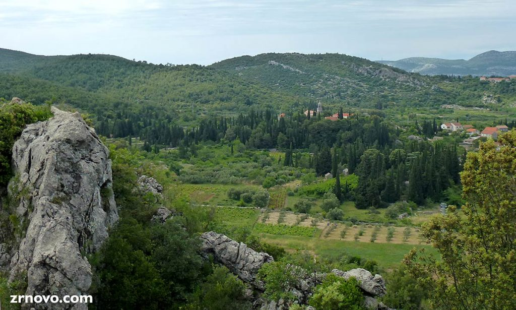 This is Biskupija viewed from the hill above Postrana.